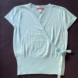 Aqua faux wrap sweater
